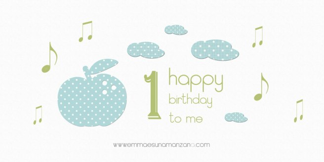 Primer cumpleaños del blog de Emma es una manzana
