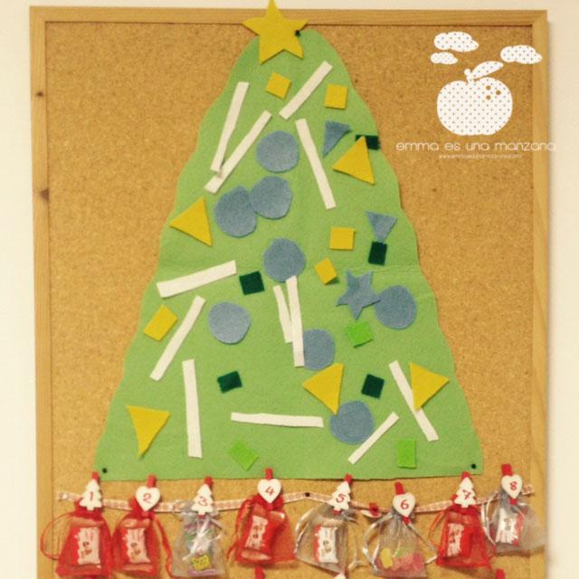 Calendario de adviento y árbol de navidad, dos en uno